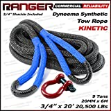 Ranger Rope 3/4' x 20' Commercial Reliability Kinetic Recovery Tow Rope by Ultranger (Breaking Strength 9 Tons 20,000 LBs)