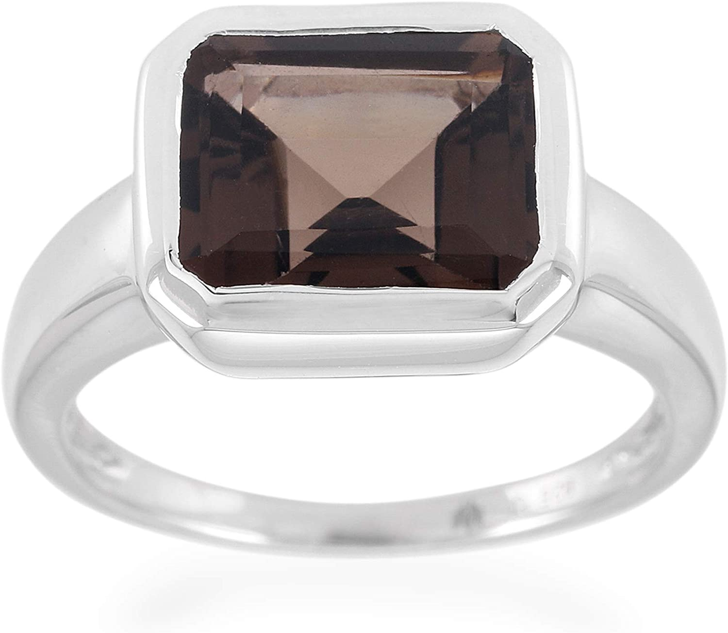 Traditional Brown SMOKY QUARTZ Big Ring Sz 7.25 925 Sterling Silver Exclusive Rare Jewelry AAA Quality Authentic Stone Girls/' Jewellery