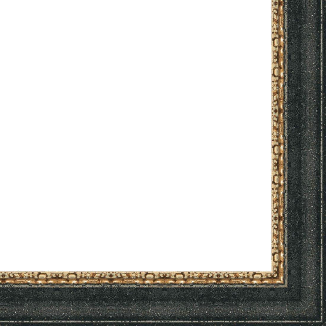 Picture Frame Moulding (Wood) 18ft bundle - Distressed/Aged Black Finish - 4.625'' width - 5/8'' rabbet depth