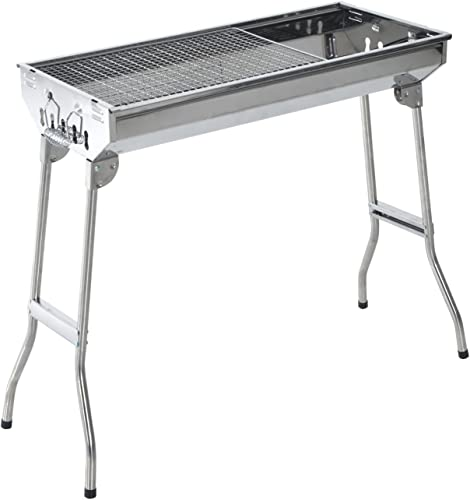 Outsunny 28 Stainless Steel Small Portable Folding Charcoal BBQ Grill Set