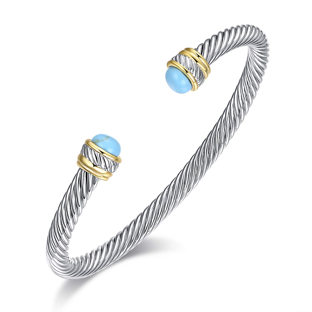 5mm Ofashion Twisted Cable Bracelet with Green Stone Ends Brass Alloy