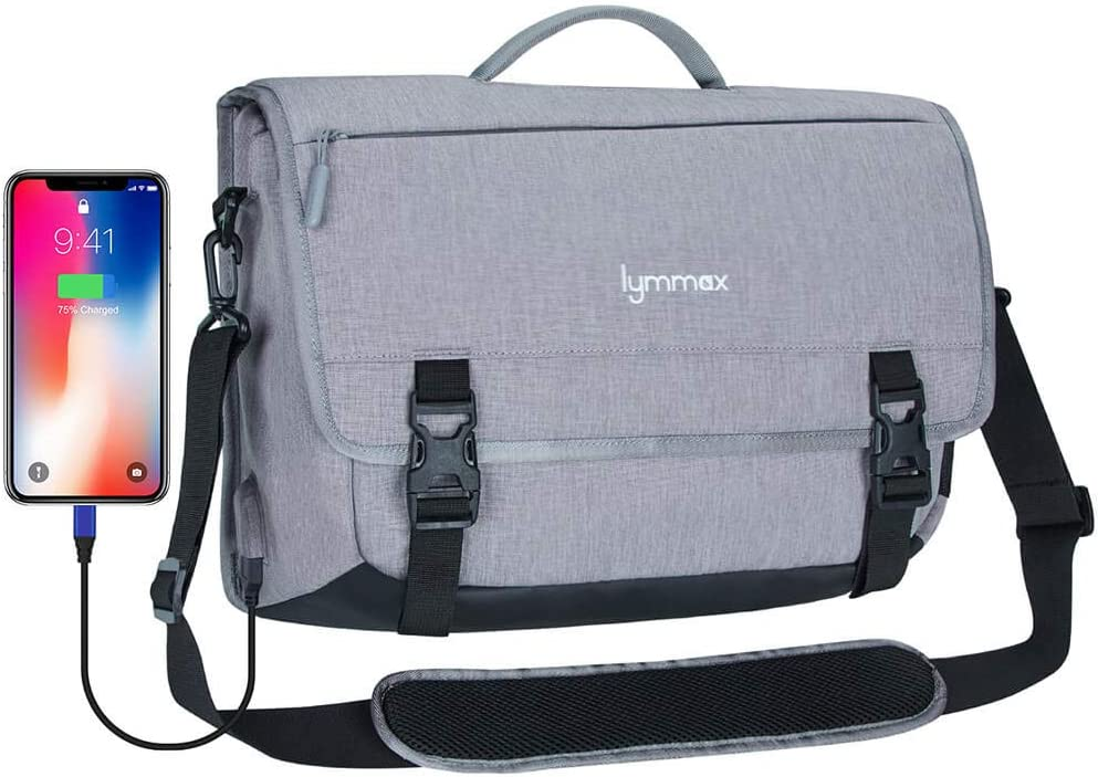 Lymmax Messenger Bag 15.6 Inch, Laptop Briefcase Waterproof with USB Charging Port Satchel Bag Crossbody for College Business Travel