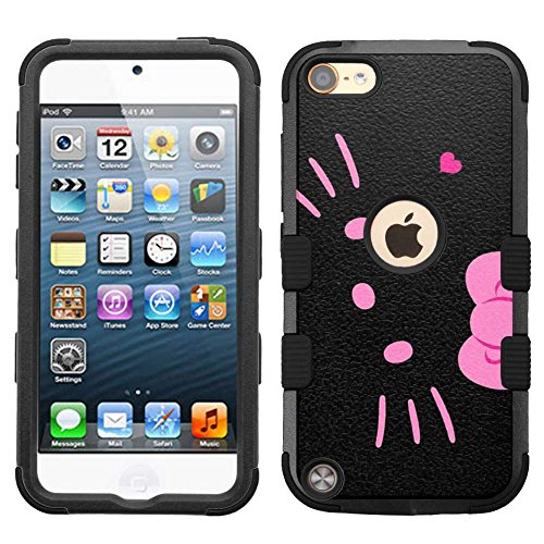 (for iPod Touch 5/6, Hard+Rubber Dual Layer Hybrid Heavy-Duty Rugged Armor Cover Case - Hello Kitty #BP )