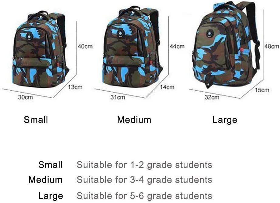Color : Yellow, Size : L XFRJYKJ-Cartoon Backpack Childrens Camouflage School Backpack Waterproof Multi-Function Travel Backpack