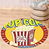 VROSELV Custom carpet1950s Decor Vintage Style Pop Corn Commercial Print Old Fashioned Cinema Movie Film Snack Artsy Work Bedroom Living Room Dorm Decor Multi Round 72 inches
