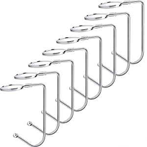 Sunshane 8 Pieces Christmas Stocking Holders Mantel Hooks Hanger Christmas Safety Hang Grip Stockings Clip for Christmas Party Decoration, Silver