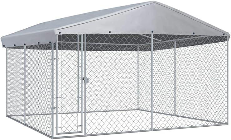 vidaXL Perrera de Exterior con Techo Animales Mascotas Perros Jaulas Cercados Casetas Casa Jardín Estructura Actividades Aire Libre 3,8x3,8 m: Amazon.es: Productos para mascotas