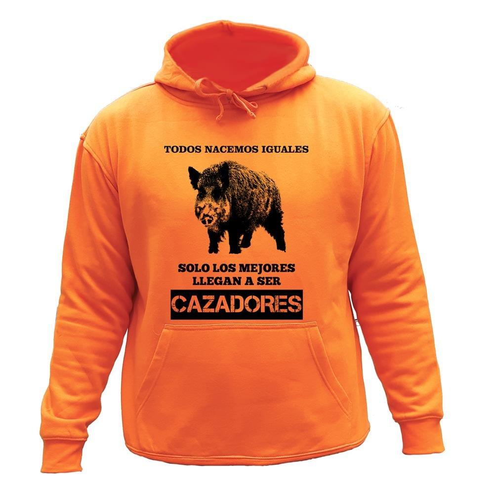 Sudadera con Capucha L, Orange,30142 Solo los Mejores Llegan a ser Cazadores Todos nacemos Iguales