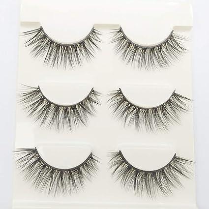 3D pestañas postizas largas gruesas mirada dramática hecha a mano falsas pestañas maquillaje extensión 3 par