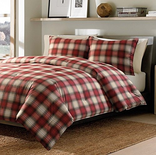 2 Piece Red Plaid Comforter Twin XL Set, Stylish All Over...
