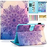Dteck iPad Mini 1/2/3 Case - Slim Fit [Stylus Slot] Folio Stand PU Leather Smart Wallet Case with Auto Wake/Sleep Magnetic Cover for Apple iPad Mini 3 / iPad Mini 2 / iPad Mini 1, Purple Flower