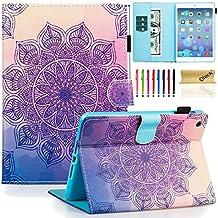 Dteck iPad Mini 1/2/3 Case - Slim Fit [Stylus Slot] Folio Stand PU Leather Smart Wallet Case with Auto Wake/Sleep Magnetic Cover for Apple iPad Mini 3 / iPad Mini 2 / iPad Mini 1, Purple Flower