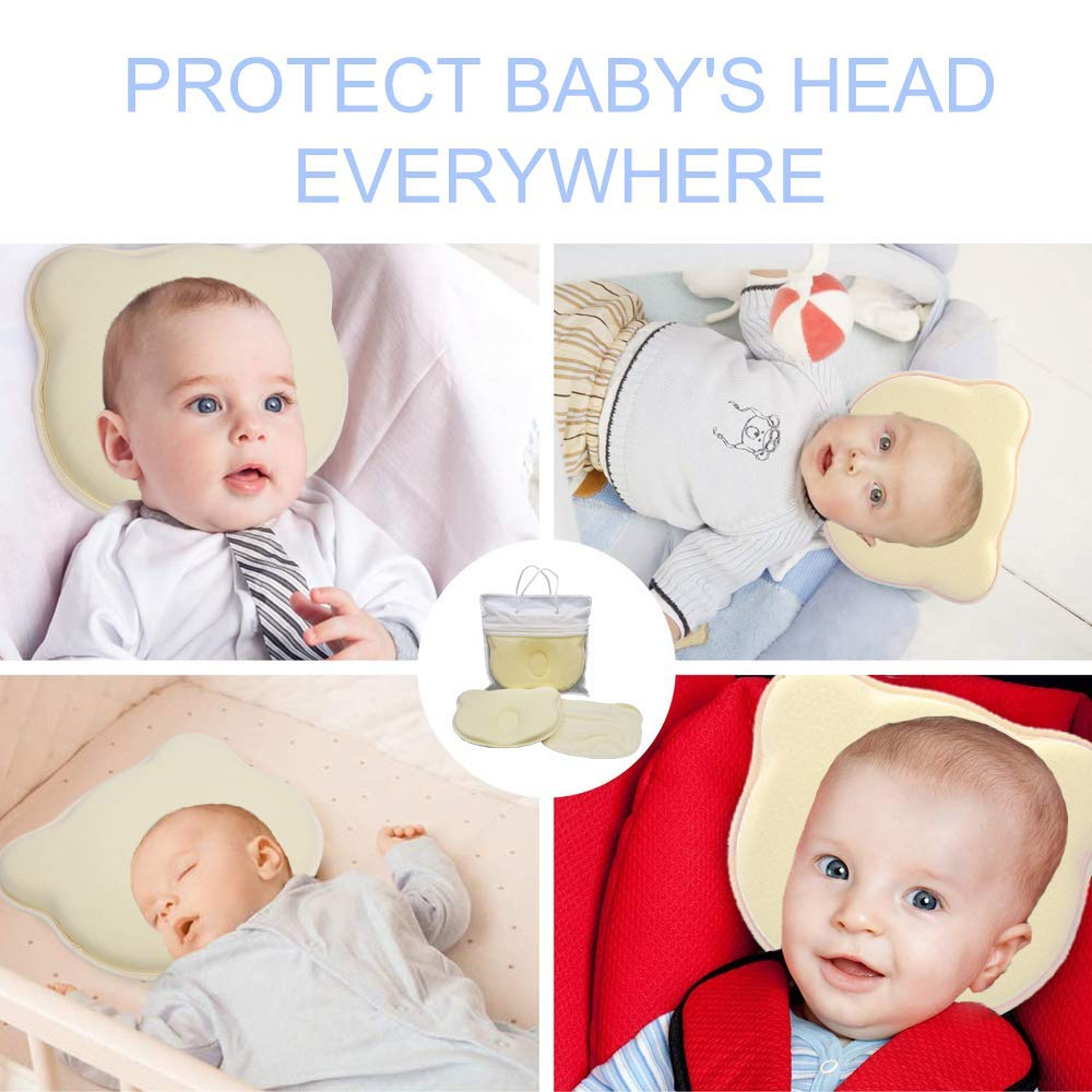 0-12 Months Prevents Baby Flat Head Syndrome and Plagiocephaly Memory Foam Flat Head Pillow,Newborn Head Shaping Pillow with 1 Washable Pillow Cover and 2 Baby Bibs Azeekoom Baby Pillow