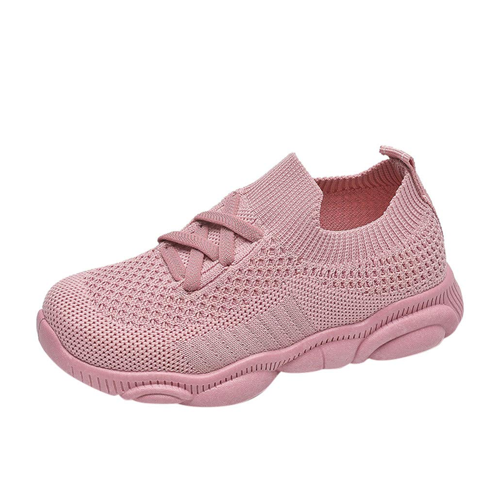 Baby Kids Outdoor Hiking Sneakers Lace Up Mesh Breathable Comfy Soft Cushioned Insole Running Sports Shoes for 1-8 Years Old (Pink, US:13M/8Years)
