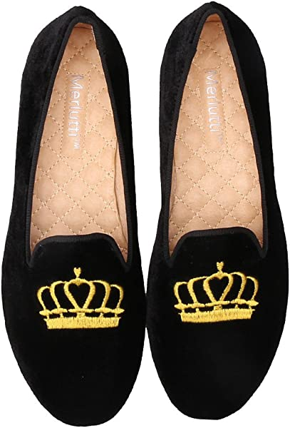 68ffc2aaad8 Merlutti Women s Princess Gold Crown Embroidered Black Velvet Loafers  Smoking Low Heeled Slipper Flats Shoes (