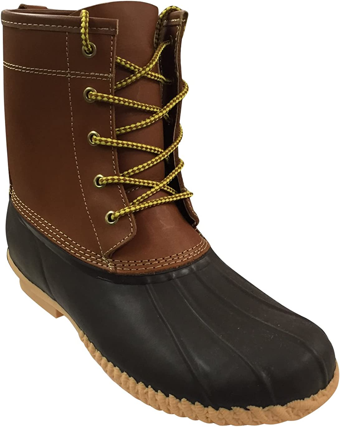 Sporto-Men's Duck Boot-Leather Shaft/Rubber Foot-Tan/Brown (11-M)