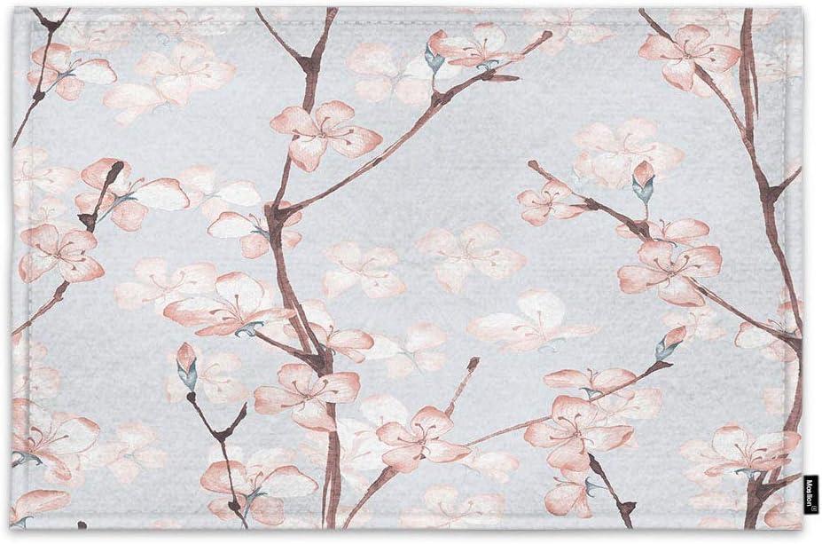 Amazon Com Moslion Floral Doormat Watercolor Cherry Sakura Flower Blossom On Tree Branch Indoor Door Mat For Entrance Way Inside Bedroom Kitchen Non Slip Mat 15 7x23 6 Inch Pink Garden Outdoor
