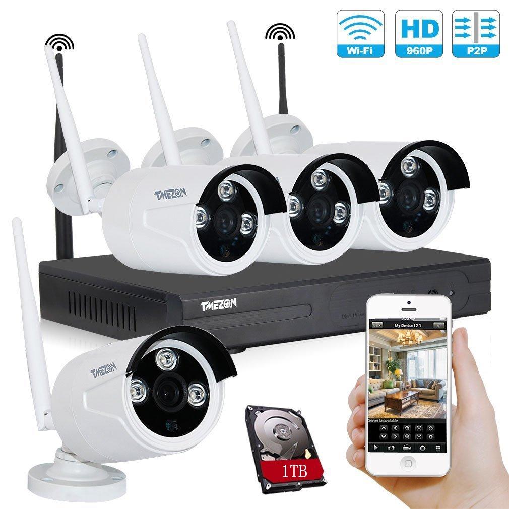 TMEZON WIFIカメラ1台 有線/無線LAN対応 ハイビジョン 監視カメラ 130万高画素 赤外線LED 防水防塵 ホワイト B01GNP2990 カメラ4台+4CHレコーダー(1TB HDD付き) カメラ4台+4CHレコーダー(1TB HDD付き)