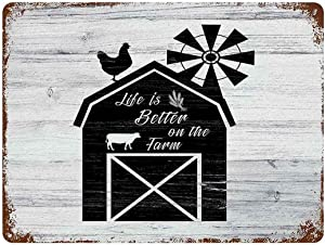 Vintage Metal Sign Decor Man Cave Bar Decor,Sweet Farmhouse Life is Always Better On The Farm Barn Windmill Metal Sign Wall Decor,Woman Cave,15.7x11.8in