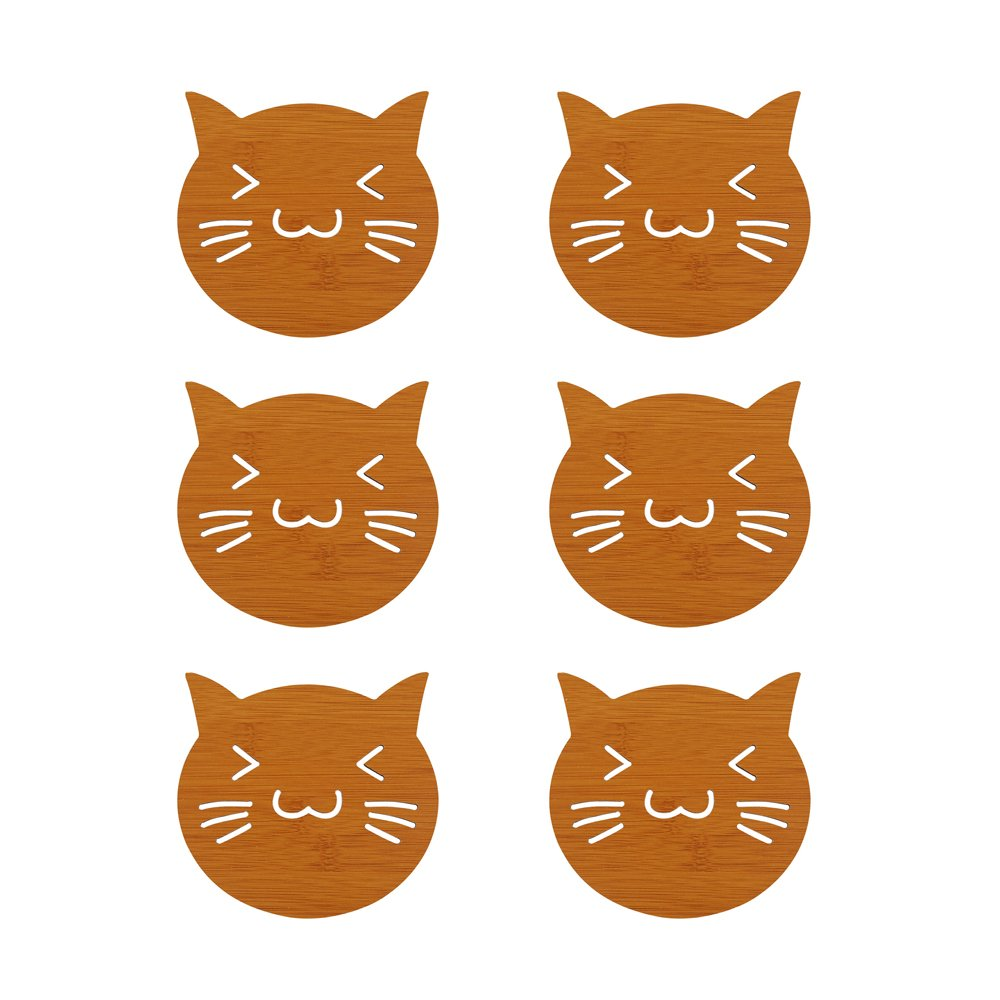 Wait Fly 6pcs Lovely Hollow Out with Cat Shaped断熱材Carbonated竹木製コースターfor Mug Cup   B0784S8SMB