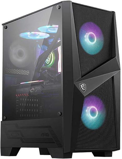 MSI MAG FORGE 100R Mid-Tower - Caja de PC Gaming, 2 x 120 mm ARGB + 1 x 120 mm Ventiladores Incluidos, Panel Cristal Templado, ATX, mATX, Mini-ITX, Negro: Amazon.es: Informática