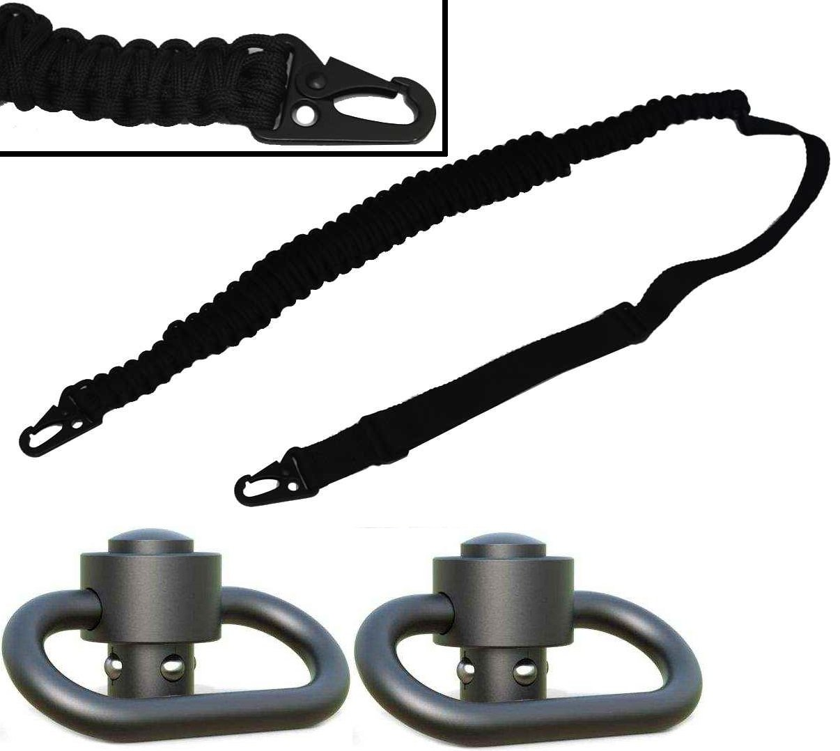 Ultimate Arms Gear Two 1.50'' QD Push Swivels + 550 lb Paracord Survial Sling, Black 56' ft Cord with Hook Ends for Ruger 1022 10/22 10-22 Mini-14 SR-556 SR-22 Rifle