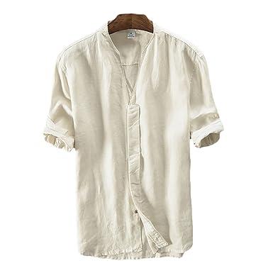 Icegrey Herren 100% Leinen Kurzarm Hemd Sommerhemd V-Neck Freizeit Hemd  Beige 42 cc909bade6