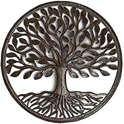 """Steel Drum Organic Tree of Life Recycled Metal Art from Haiti, Decorative Wall Hanging 23"""" X 23"""""""
