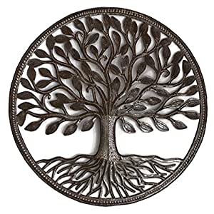 "Steel Drum Organic Tree Life Recycled Metal Art from Haiti, Decorative Wall Hanging 23"" X 23"" Fair Trade Federation Certified"
