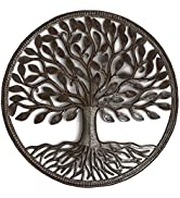 Organic Tree of Life Decorative Wall Hanging Artwork, 23 Inch Round Metal Sculpture, Handmade in ...