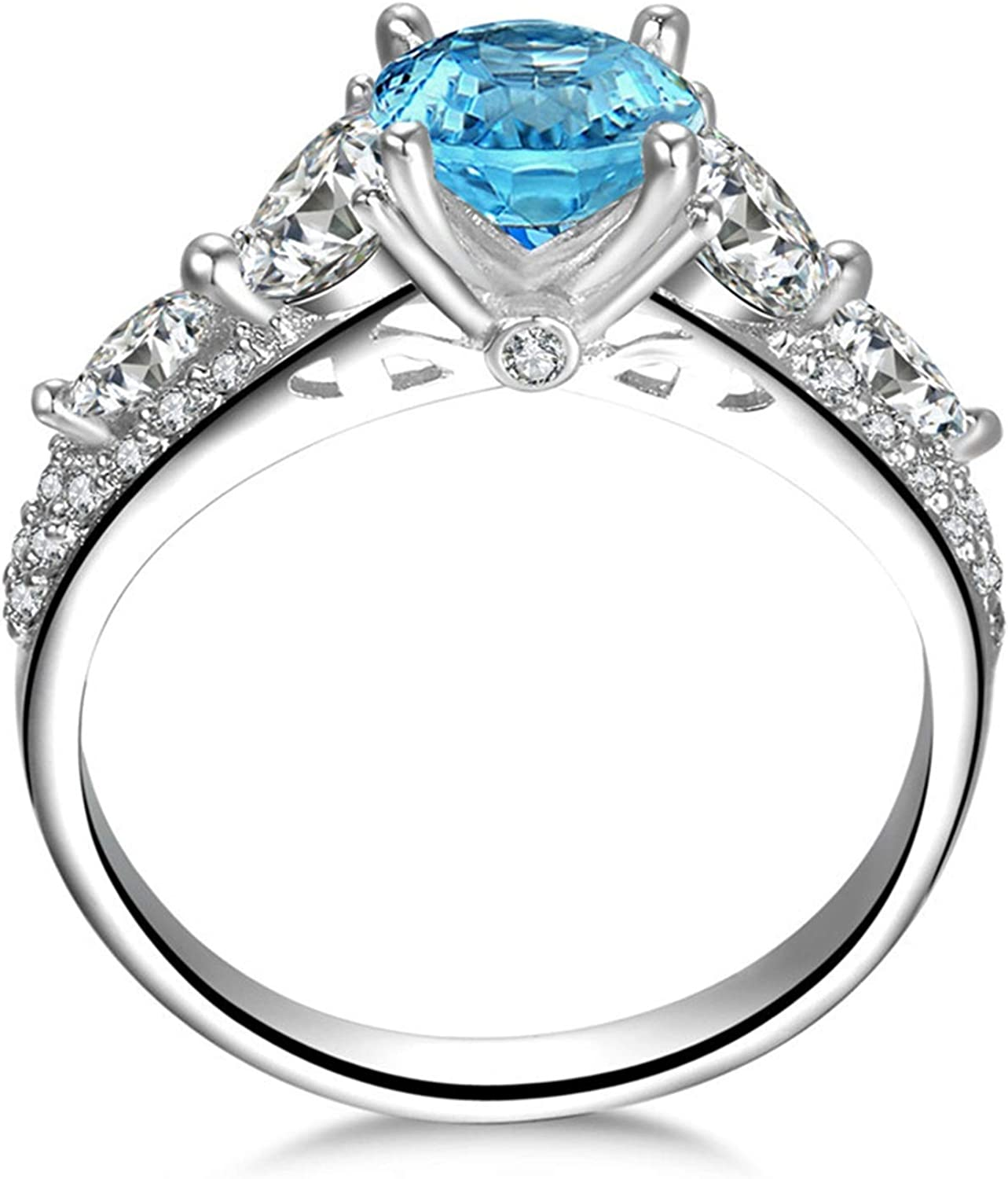 AMDXD Jewellery 925 Sterling Silver Rings Women Blue Round Cut Topaz Round Ring