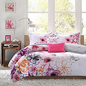 Amazon Com 4 Piece Girls Floral Themed Comforter Twin Txl