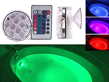 Attractive GlowTub Underwater Remote Controlled LED Color Changing Light For Bathtub  Or Spa   Battery Operated