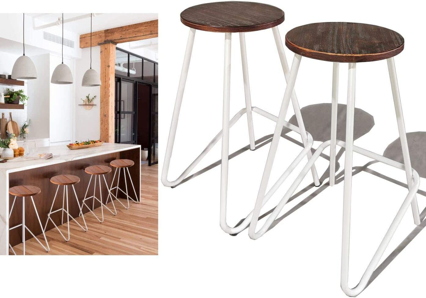 Diwhy Industrial Bar Stools,Kitchen Dining Chair,Wood and Metal Bar  Stool,Industrial Backless Counter Height Bar Chair White,27.2\
