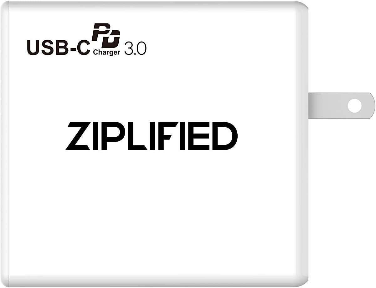 Ziplified USB C 3.0 Wall Fast Charger, 60W Power Delivery for MacBook Pro 2016/2017, iPhone 11, XS Max, Galaxy S10, Pixel 3/4/XL and More