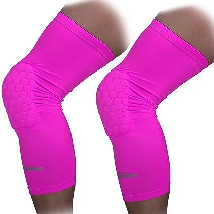 f04f339ea7060 COOLOMG 2 Packs (1 Pair) Kids Adult EVA Pads Crashproof Basketball Leg Knee  Long Sleeve Protector Gear Pink XXS: Amazon.in: Sports, Fitness & Outdoors