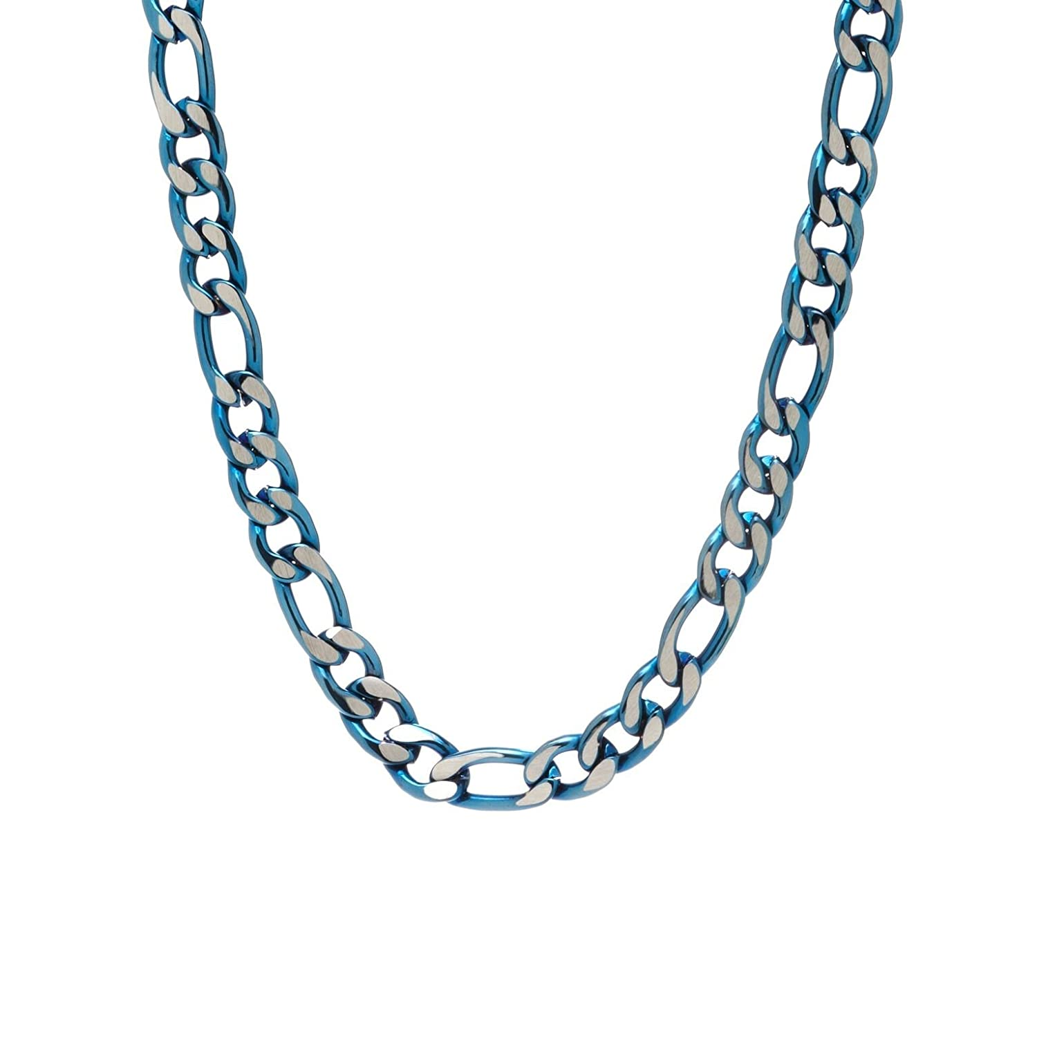 """Arrow Jewelry Stainless Steel/Blue IP-Plated 30"""" Two-Tone Figaro Chain Necklace, 7.00mm"""