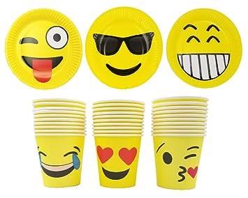JZK 30 Placas Papel Emoji Platos y 30 Tazas de Papel Emoji para la Fiesta de Emojis Adulto niños Suministro de Fiesta cumpleaños Accesorio de vajilla ...