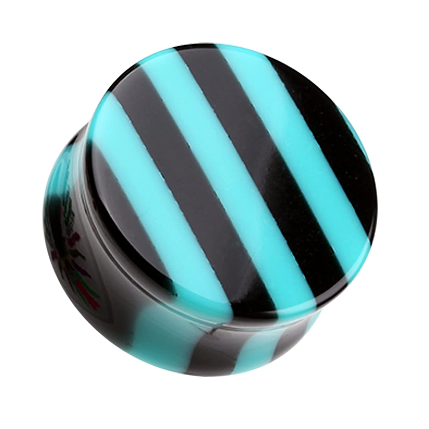 Brilliant Stripes Double Flared Ear Plug Sold as a Pair Teal