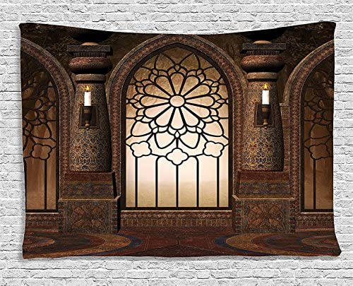 Ambesonne Gothic Tapestry, Gate and Windows in a Dark Room Graphic Illustration Print, Wide Wall Hanging for Bedroom Living Room Dorm, 80 X 60 , Brown