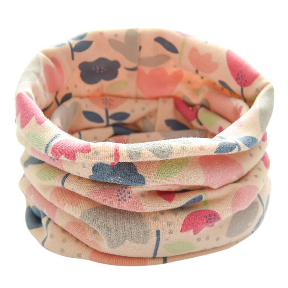 Mitlfuny Niñas Niños Invierno Cálido Unisex Bebé Pañuelos para el Cuello Collar Las Muchachas Impresión Patrón de Las Flores Bufanda de Algodón Redondo para Niño 1-3 Años