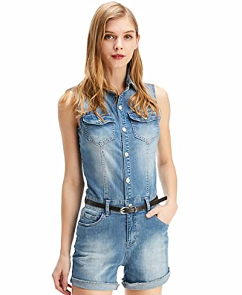 35150e81d1ee7c TieNew Damen Ärmellose Jeans Jumpsuit Shorts Mode Kurze Latzhose Denim  Overalls, 2018 Damen Elegant Short