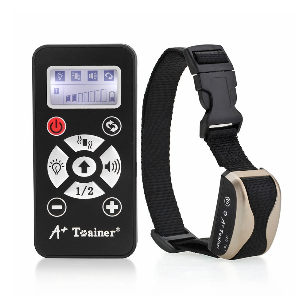 A+ Trainer 800 Meters Remote Dog Training Collar Waterproof Auto Anti Barking Collars Rechargeable Pet Trainer with Warning Tones, Vibration, Signal Lights Function-Champagne