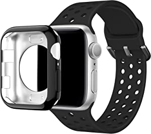 Huishang Compatible for Apple Watch Band 38mm 40mm 42mm 44mm with Screen Protector Case,Sports band Women Men Silicone Replacement Wrist Strap for iWatch Series 6 SE 5 4 3 2 1(Black,38mm)
