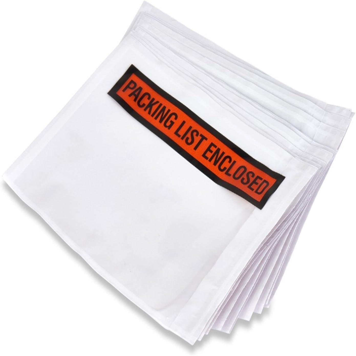 BOXN1 100 pcs 4.5 x 5.5 Packing List Enclosed Back Side Loading Envelopes Pouches 100 pcs