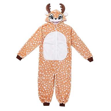 00fc33c6401a3 YiZYiF Enfant Noël Déguisement Cerf Grenouillères Pyjama Animal Body  Combinaison à Capuche Flanelle Vêtement de Nuit Cosplay Costume Noël  Carnaval 7-12 Ans  ...