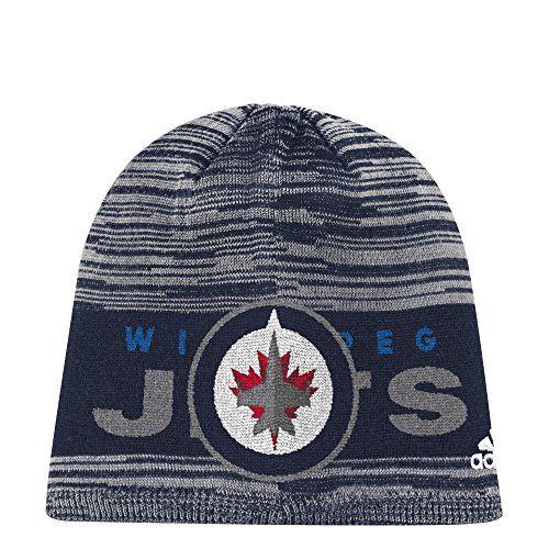 fan products of NHL Winnipeg Jets Adult Men Pro Authentic Cuffed Beanie with Chrome Shield, One Size, Navy