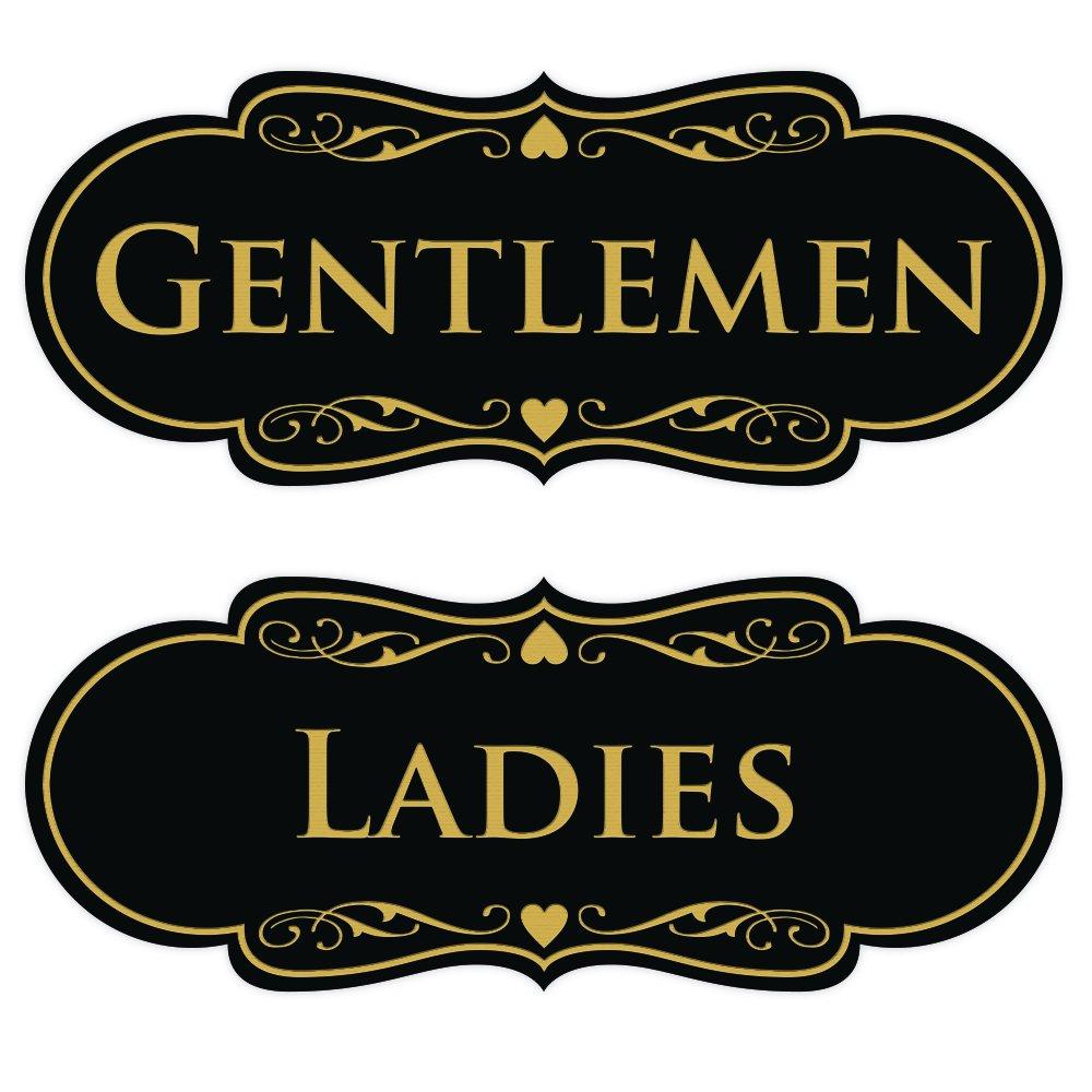 Designer LADIES GENTLEMEN (2-Pack) - Black / Gold Large