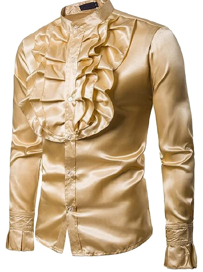 Hajotrawa Mens Casual Long-Sleeve Dress Banded Collar Formal Shirt