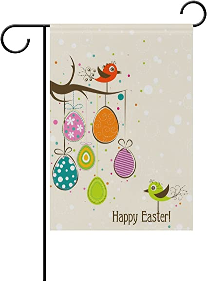 Alaza Double Sided Lovely Bird Happy Easter Colorful Easter Egg Polyester House Garden Flag Banner 28 X 40 Inch For Anniversary Family Garden Decor Garden Outdoor